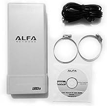 Alfa Network UBDO-NT8 - Adaptador WiFi USB 802.11b / g/n, Largo Alcance, Radio, con con 12 dBi Antena integrada, Cable de 8 m