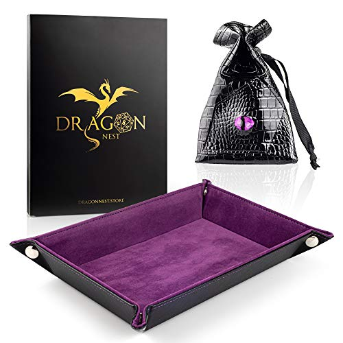 Dice Tray & Dice Bag Set by Dragon Nest Store | Quality Folding Rectangle Rolling Tray & Leather Storage Pouch for DND Metal Dice | Ideal for Dungeons&Dragons RPG Board & Table Games