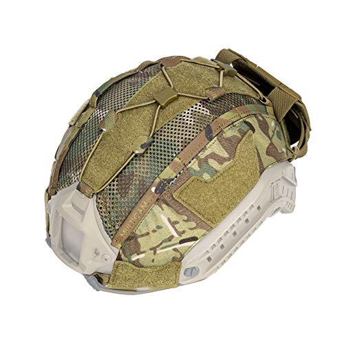 IDOGEAR Tactical Helmet Cover with Battery Rear Pouch for Fast Helmet in Size M/L Military Paintball Hunting Shooting Gear - 500D Nylon (Multicam)