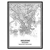 Helsinki Finnland Karte Wandkunst Leinwand drucken Poster
