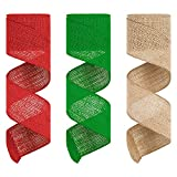Wired Burlap Ribbon for Crafts, Gartful 3 Rolls 2.5 inch Wide Burlap Fabric Ribbon Red Green Natural for DIY, Craft, Wedding, Gift Wrapping, Home Decoration, Floral Bows, Wreath (4.3Yards/Roll)