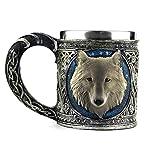 Stainless Steel Wolf Mug, EZESO Resin 3D Wolf Coffee Cup Stainless Steel Travel Tea Wine Beer Mugs