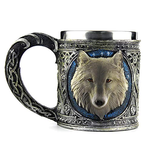 Stainless Steel Wolf Cup,EZESO Resin 3D Stereoscopic Retro Wolves Mugs Goblet Wineglass 301-400ml (Mug) by Ezeso