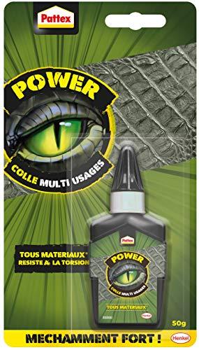 Pattex Power - Pegamento multiusos, adhesivo transparente para todas las condiciones, pegamento fuerte para todos los materiales, incluso flexibles, pegamento universal potente de 50 g