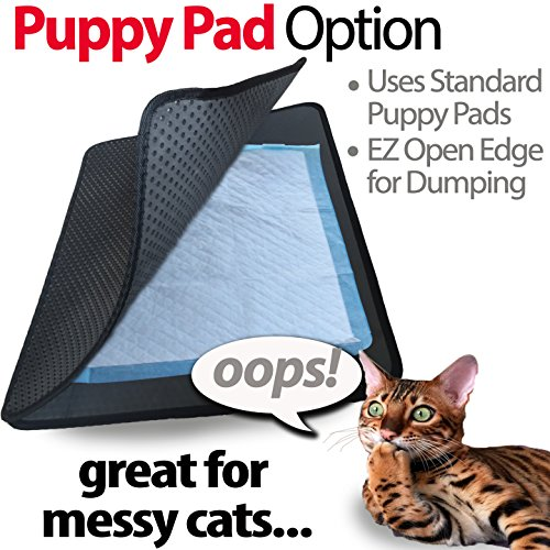 iPrimio Large Cat Litter Trapper Mat with Exclusive Urine/Waterproof Layer. Larger Holes with Urine Puppy Pad Option for Messy Cats. Soft on Paws and Light (Black Color)