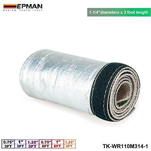 EPMAN 1-1/4X 3' Aluminum Metallic Heat Shield Thermal Sleeve Insulated Wire Hose Cover Heat Shroud