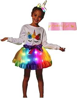 SHINYOU Girls Rainbow Tutu Skirt LED Light UP Christmas Dress Up Birthday Outfit