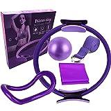 LYEAA Juego de anillos de pilates, kit de iniciación de yoga con mini bola de ejercicio, anillo de pilates y banda de resistencia de pilates y banda elástica de yoga para fitness, pilates (púrpura)