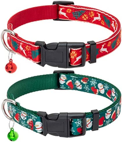 Christmas Dog Collar with Bell 2 Packs Xmas Adjustable Heavy Duty Dog Collars Festival Collar product image