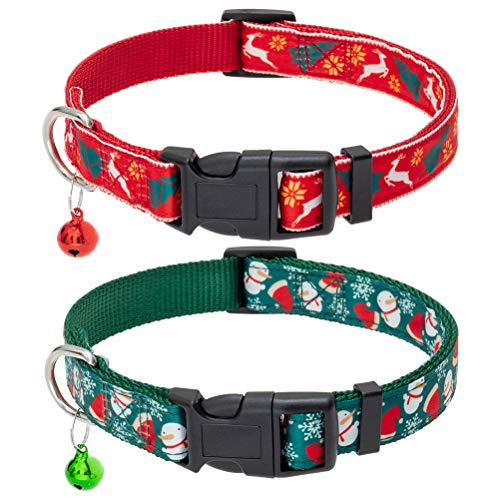Christmas Dog Collar with Bell 2 Packs - Xmas Adjustable Heavy Duty Dog Collars Festival Collar Pet Accessory with Reindeer Snow Man Pattern for Small Medium Large Dogs