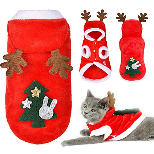 Gbrand Cute Pet Costume Outfits Red Christmas Santa Claus Hat Scarf Cosplay Dressing up Xmas Party Fashion New Year Clothing Accessories for Small Pet Cat Dog (Elk, XS)