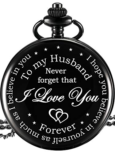Hicarer Pocket Watch Husband Gift, Anniversary Gift Birthday Gift Valentine's Day Gift from Wife, Engraved I Love You Pocket Watch