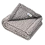 """Juqiboom Premium Fluffy Fleece Dog Blanket, Soft and Warm Throw for Dogs & Cats, Pet Bed Cover, Mat Fluffy Blanket for Puppy Kitten Home Using, Camping Mat, Car Seat (Small (2432""""), Grey)"""