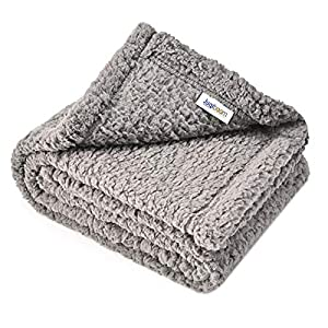 "Juqiboom Premium Fluffy Fleece Dog Blanket, Soft and Warm Throw for Dogs & Cats, Pet Bed Cover, Mat Fluffy Blanket for Puppy Kitten Home Using, Camping Mat, Car Seat (Small (2432""), Grey)"