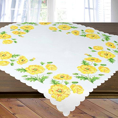 Tischdecke Mitteldecke GELBER MOHN - weiß/Creme - 85x85 cm - Moderne Tischdecke für Küche, Wohnzimmer und Garten