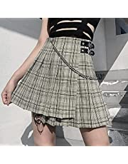 Hoge Taille Plaid Gothic Rok Voor Vrouwen Zomer Mode Streetwear E-Girl Patchwork Keten Gesp Mini Geplooide Rokken