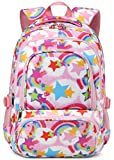 Girls Rainbow Backpack for Kids Elementary School Bags for Kindergarten Girly Cute Bookbags Primary Gift Mochilas Escolares Para Niñas De 4 5 6 7 8 Años (Pink)