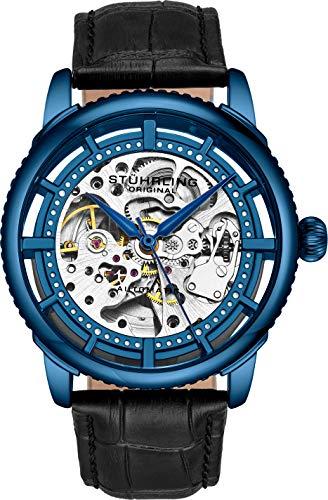 Montre Automatique pour Homme Stuhrling Original, Cadran Squelette avec Bracelet en Cuir, série 3933 (Blue)