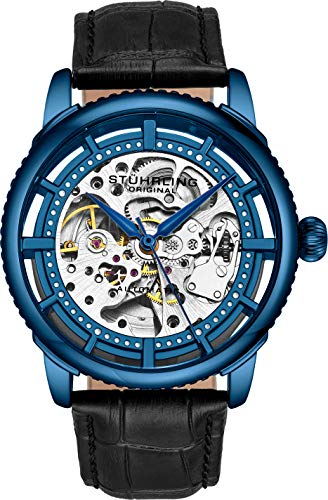 Stuhrling Original Herrenuhr, Skeleton Zifferblatt mit Lederband, Serie 3933 (Blue)