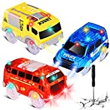 Track Cars Replacement Only Light Up Toy Cars with 5 Flashing LED Lights Toys Racing Car Track Accessories Compatible with Magic Tracks and Tracks with Most Track Cars for Boys and Girls (3 Pack)