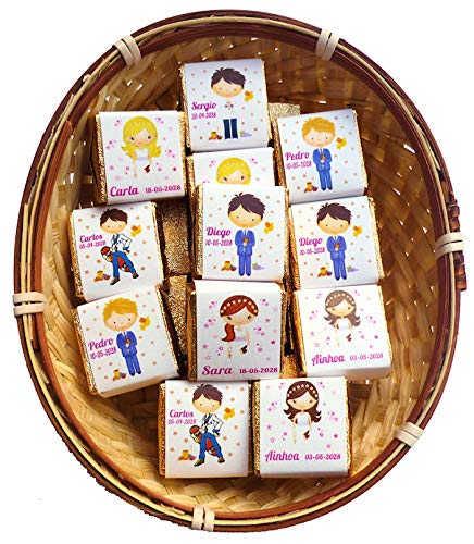 Detalles y Recuerdos de Comunión Personalizados Para Invitados - Bombones de Chocolate - Un Dulce Regalo Para Amigos y Familiares - 50 Bombones Personalizados y dos Cestos