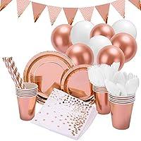 145pcs stoviglie per feste oro rosa decorazioni, stoviglie monouso festa piatti tovaglioli bicchieri coltelli forchette cucchiai cannucce per feste, matrimoni, anniversari, compleanno (16 ospiti)
