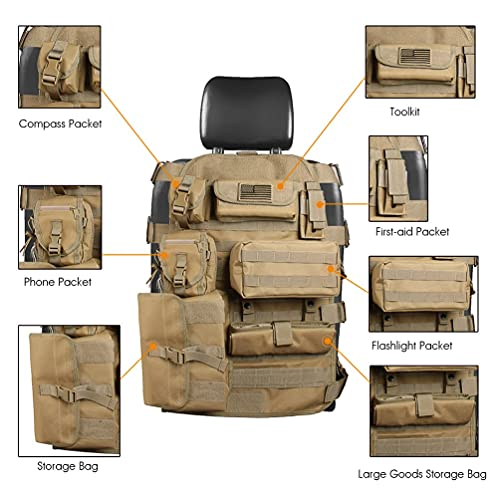 SUNPIE Upgrade Large Seat Size Universal Tactical Seat Cover for Trucks Multi Pockets Molle Seat Back Organizer Fit J eep Wrangler JL/JLU/Gladiator, JK/JKU, tj, YJ, Cherokee F150 Seat Protector