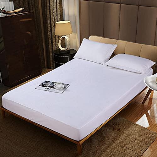 CYYyang Protector de colchón Transpirable.Rizo Bambú. Sábana Impermeable Color Puro Anti-ácaros-White_180 * 200 + 30cm