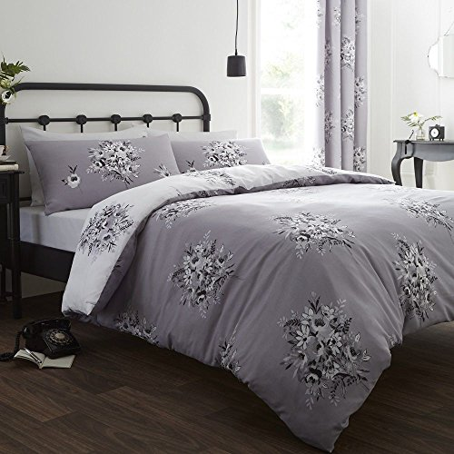 Catherine Lansfield Floral Bouquet Easy Care King Duvet Set Grey