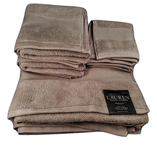 Ralph Lauren Wescott Handtuch, plazidgrau, 6-teiliges Handtuch-Set (2 Badetücher, 2 Handtücher, 2 Waschlappen)