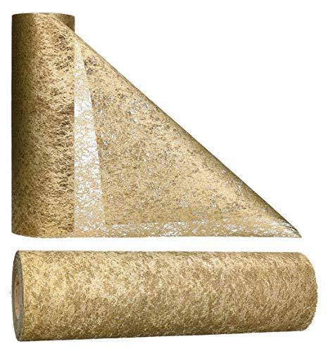 AmaCasa - Corridore da tavolo in tessuto non tessuto color oro, ideale per fiori, matrimoni e comunioni, 30cm/25m (Oro, 30cm)