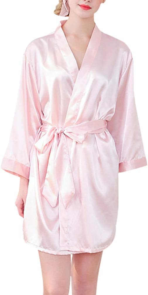 JiXuan Frauen Braut Robe Kurze Kimono Robe Silk Satin Robes f/ür Hochzeitsgeschenke mit Gold Glitter