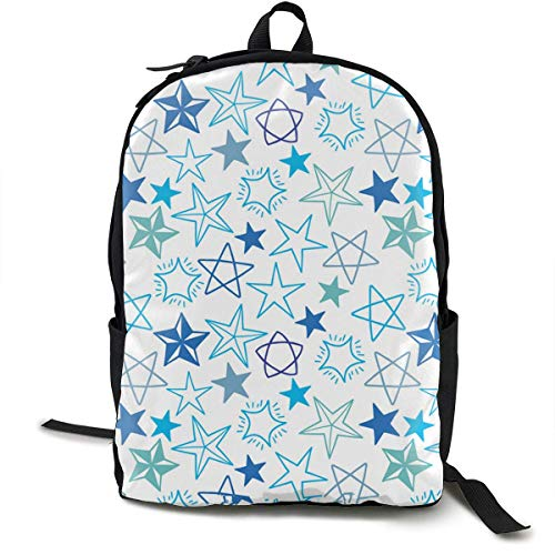 Blue Stars Travel Computer Bag Laptop Backpack Unisex, School College Fits 15'' Laptop
