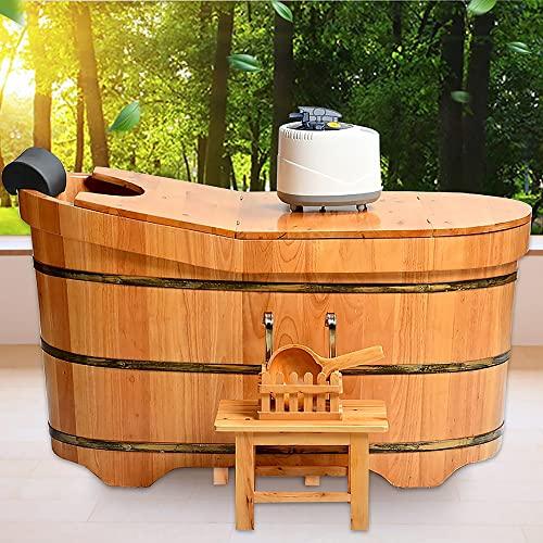 Yirunfa Wilde Zeder Familienbadewannen mit Abdeckung und Begasungsmaschine, SPA Erwachsenen Wanne Badewanne Familienbad, Zapfenverbindungsverfahren, 1-1.6M