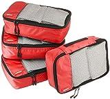 AmazonBasics - Bolsas de equipaje pequeñas (4 unidades), Rojo