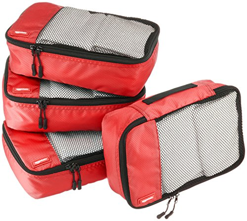 Amazon Basics - Bolsas de equipaje pequeñas (4 unidades), Rojo