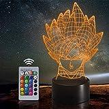 Lámpara de ilusión LED Luz de noche 3D Cartoon Dragonball Angry Saiyan,...