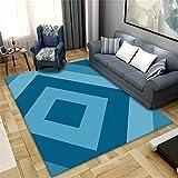 Alfombra Para Habitacion Laminas Infantiles Para Habitacion Diseño de patrón cuadrilátero superpuesto azul claro azul oscuro sala de estar simple accesorios para habitación de niño seguridad y protecc