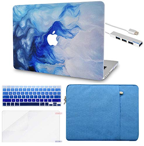 LuvCase 5 in 1 Laptop Case for MacBook Air 13 Inch A1466 / A1369 (No Touch ID)(2010-2017) Hard Shell Cover, Sleeve, USB Hub 3.0, Keyboard Cover & Screen Protector (Mist 12)