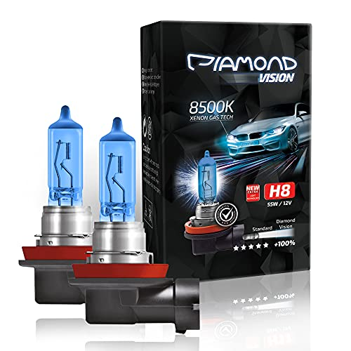 2X H8 55W 12V Diamond Vision 8500K Lampade Lampadina Effetto Xenon Look LED Diurna e abbagliante Canbus Super White Vision Racing Blu Cool Blue Alogena Luce Bianca Moto