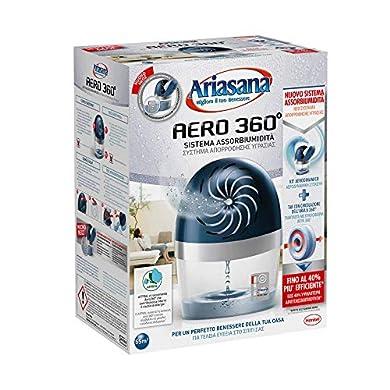 Foto di Ariasana Aero 360° kit assorbiumidità, deumidificatore ricaricabile non elettrico, assorbi umidità contro condensa, muffa e cattivi odori, 1 dispositivo e 1 ricarica in Tab da 450g