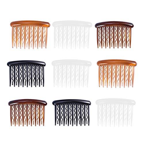 Minkissy Lot de 48 peignes à cheveux 17 dents ondulées en plastique pour mariée Noir café clair transparent blanc
