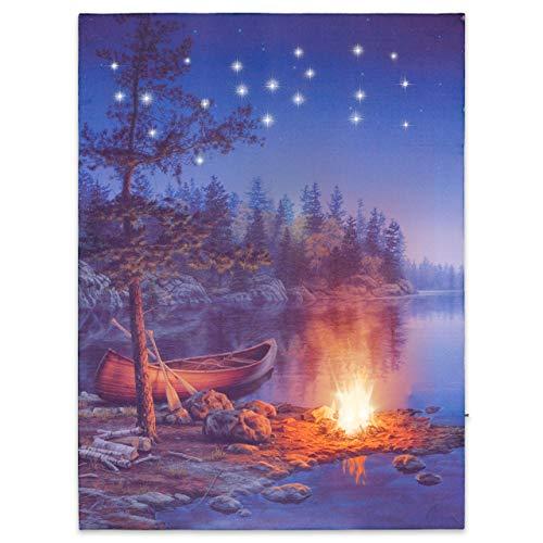 Nexos LED Wandbild Leinwandbild mit Beleuchtung Fotodruck Kanu 30x40 cm Kunstdruck Leuchtbild Effekt-LED Flussufer Lagerfeuer