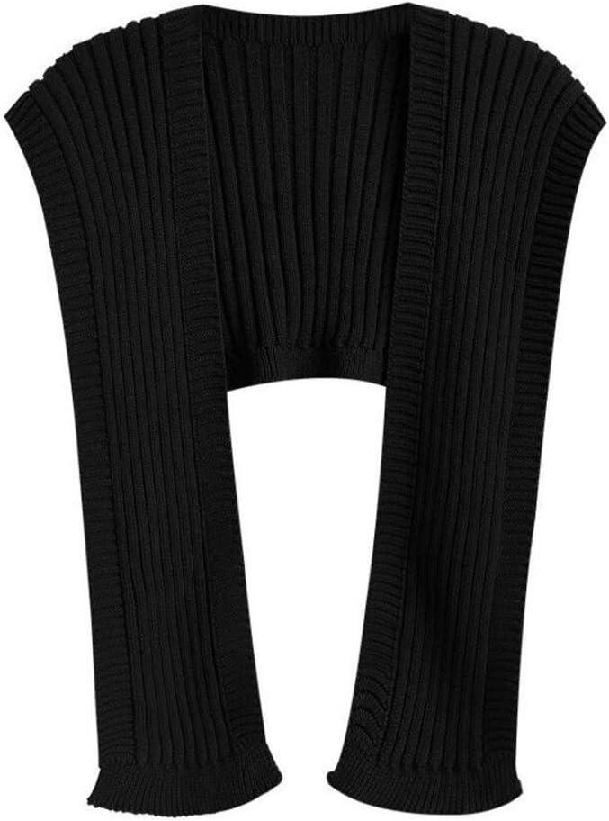 PDGJG Knit Sweaters Shawl Cloak Women Outer Wear Autumn Sleeveless Shrugs Loose Black Top Casual Simple Bib Waistcoat (Color : B)