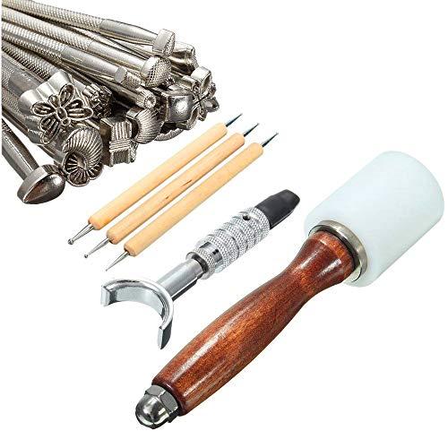 Set van 25 carving stempels hamer gereedschap, leer handwerk snijden gereedschap handmatig leer snijden stempel hamer naaien zadel reliëf beveler beroep kit