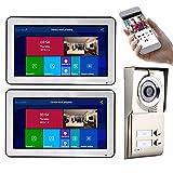 Timbre con video Wifi, sistema de teléfono con videoportero con cable de 10 pulgadas, intercomunicador, cámara de visión nocturna + 2 monitores, desbloqueo de APP de soporte