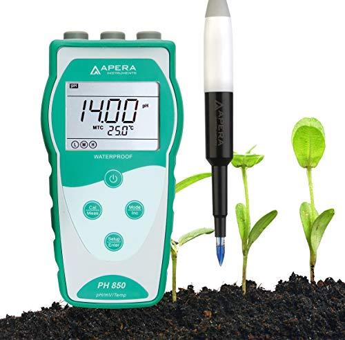 Apera Instruments PH850-SL tragbares pH-Messgerät zum Messen von Böden (Direktmessung), ausgestattet mit der LabSen 553 Elektrode (pH-Messbereich: 0 bis 14,00)