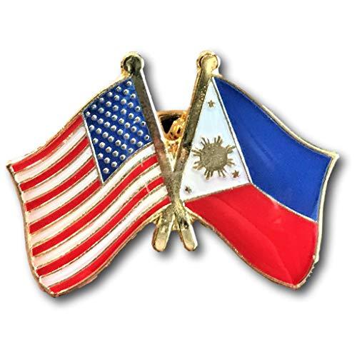 USA-Philippines Friendship Pin/American Filipino Crossed Flags Broach