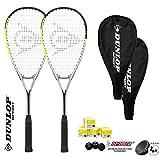 DUNLOP Hyper Lot de 2 Raquettes de Squash avec 3 balles de Squash