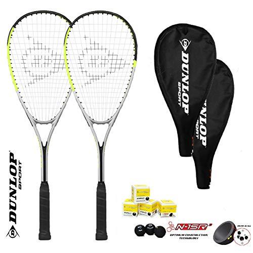 DUNLOP Hyper Squash - Juego de 2 Raquetas para Squash (Incluye 3 Pelotas de Squash)